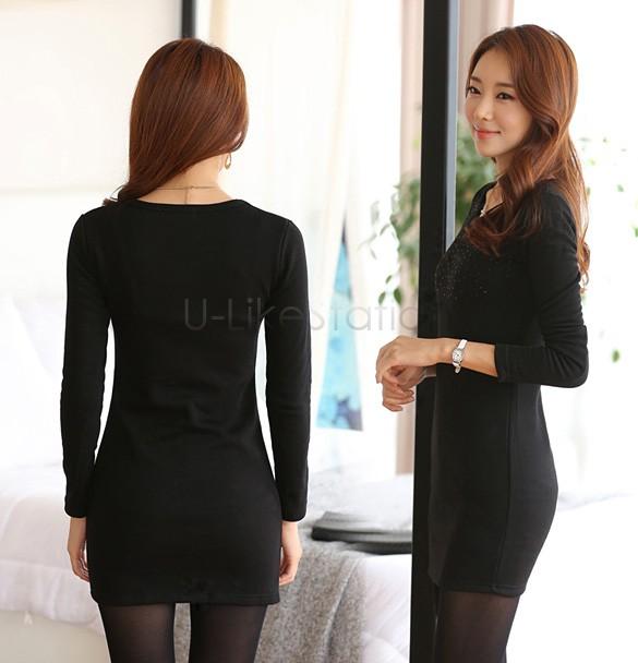 40af82450e306 1 ×المرأة أعلى. Click here!! الكورية النساء فساتين طويلة الأكمام س الرقبة  أزياء محبوك سترة اللباس الأنيق رصاص اللباس vestido زائد الحجم