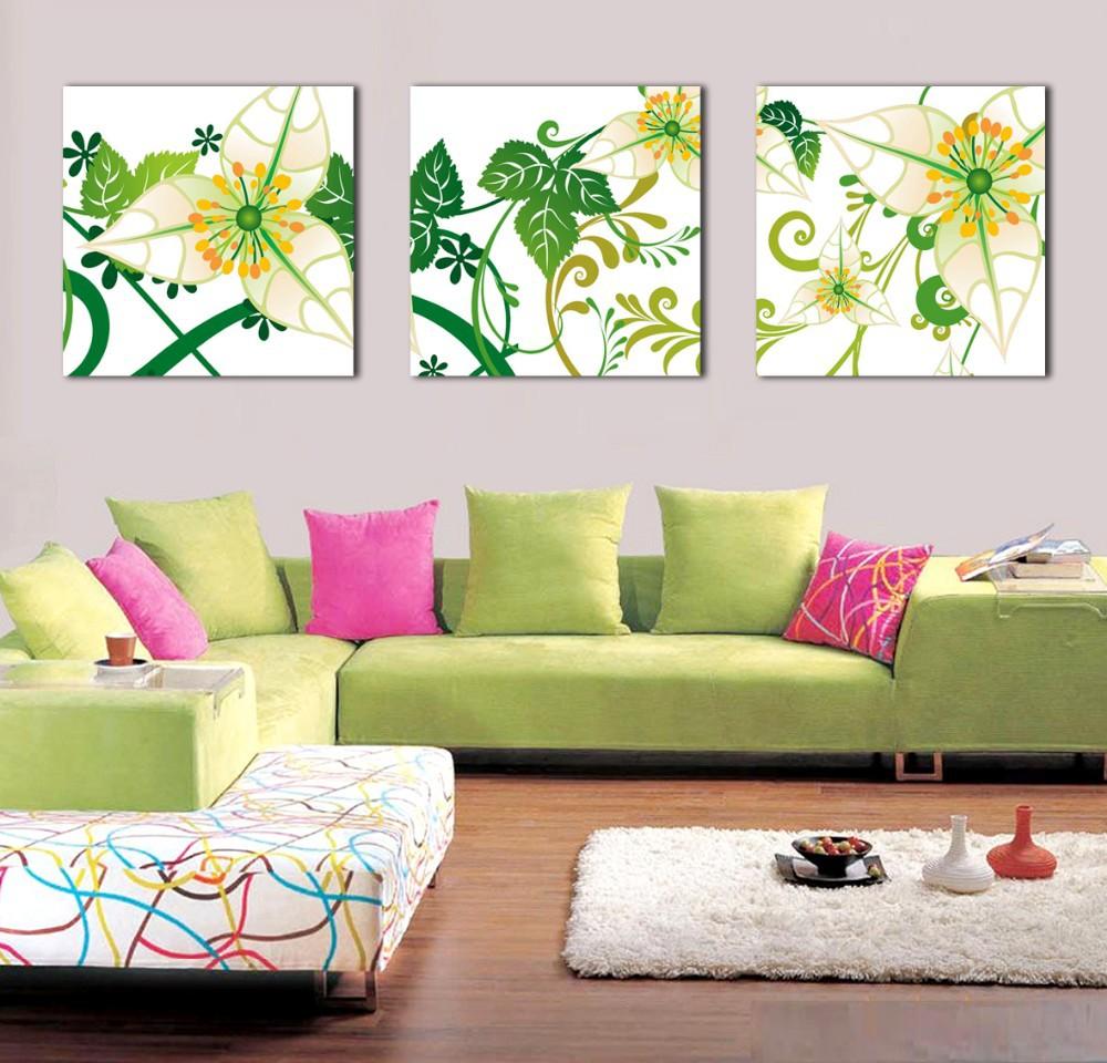 79f287d56 جديدة الكورية نمط جدار الفن قماش يطبع خلاصة الزهور الصفراء الصورة ل ...