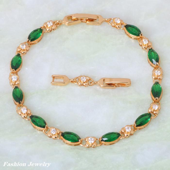 707635b548bd15 Promocja Najwyższej Jakości żółtego złota nakładki Zielony cyrkoniami  Bransoletki moda biżuteria 20 cm 7.87 cal B137