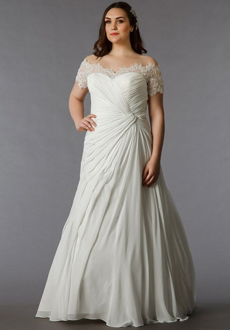 Plus Size Tea Length Wedding Dresses 3 4 Length Sleeves