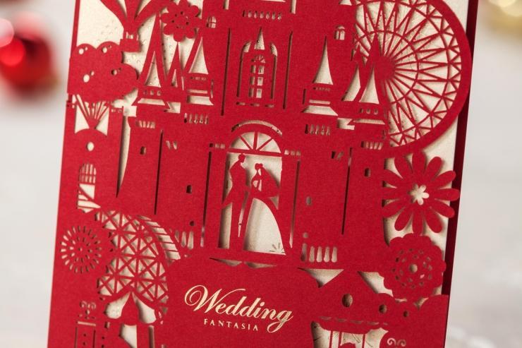 2b13c772f2cdc6 Gorący sprzedawanie typu krotnie Zaproszenia ślubne, czerwony kolor  kreatywne materiały ślubne dostosowanie,