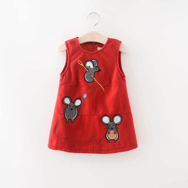 4c6e7b980d995 طفل بنات أزياء س الرقبة طوق الأحرف ماوس اللباس ربيع الخريف ملابس الأطفال  أكمام ملابس 6 قطعة الوحدة