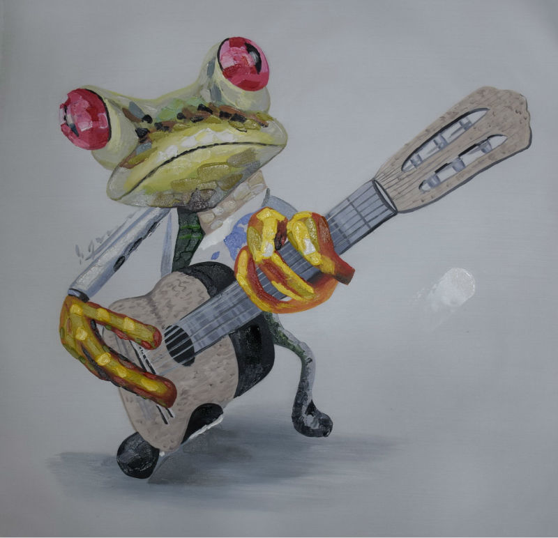 ᐂpintado A Mano Abstracto Animal De Dibujos Animados Pintura Al