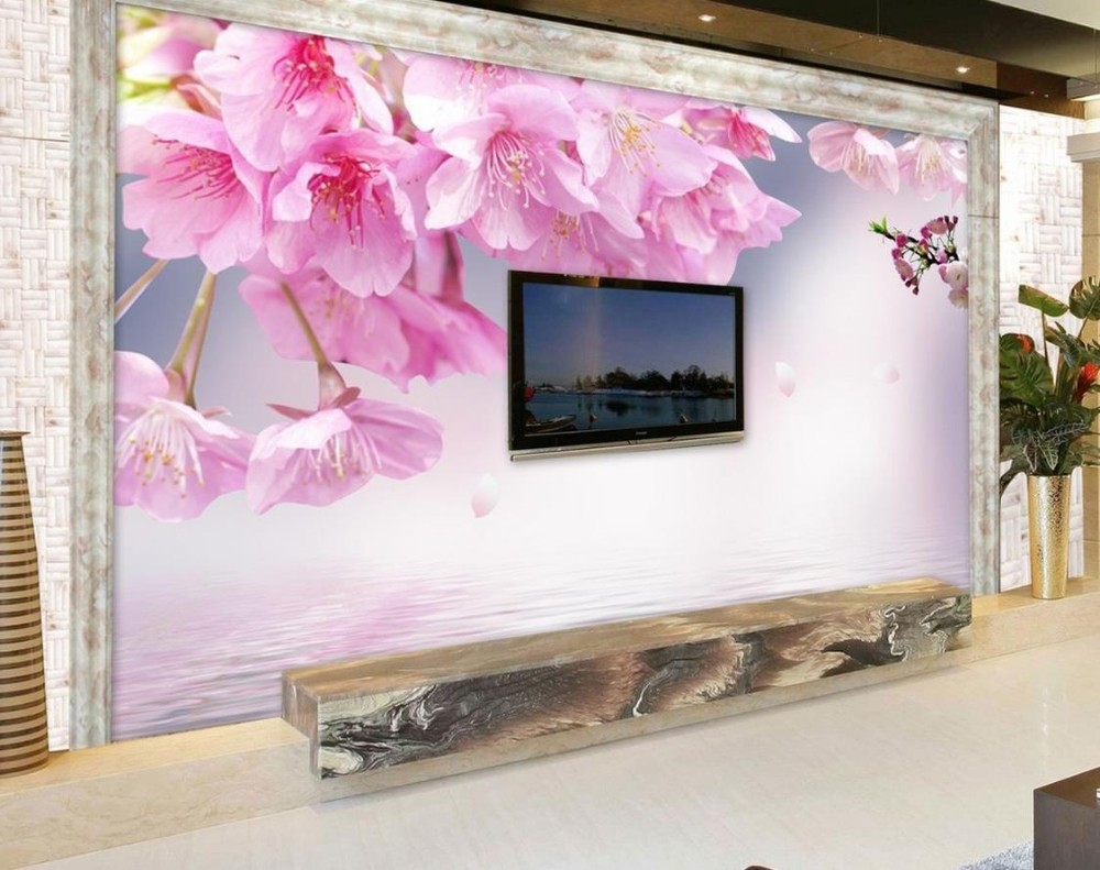 ace5d3cea ٩(^‿^)۶Rosa flores de cerejeira flor 3d papel de parede mural 3d ...