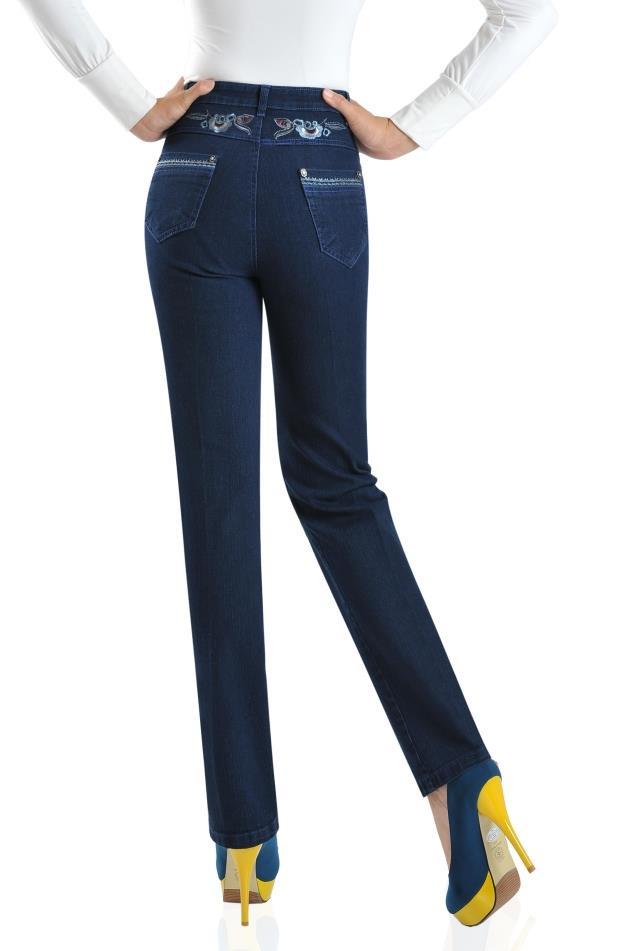 fd05c8d5be Casual jeans Denim Pantalones rectos para mujer más tamaño elástico otoño  primavera algodón mezcla bordado pantalones femeninos ycf0601