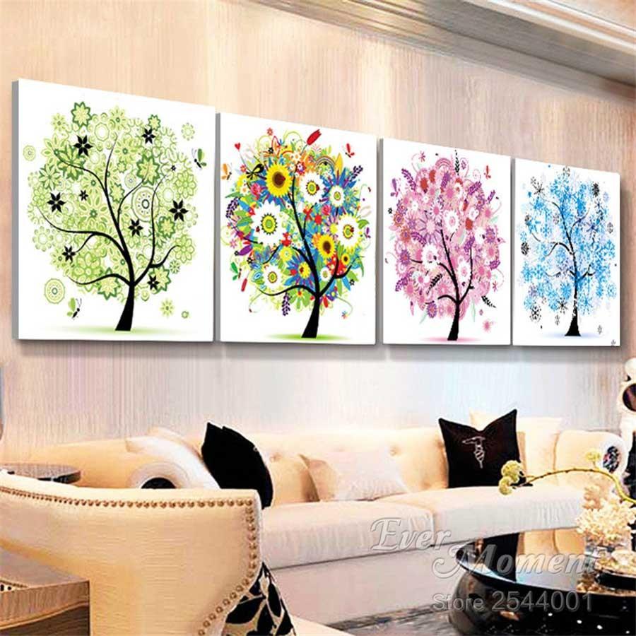 ξdiamonds Nakış Ilkbahar Yaz Sonbahar Kış Dört Mevsim Ağacı