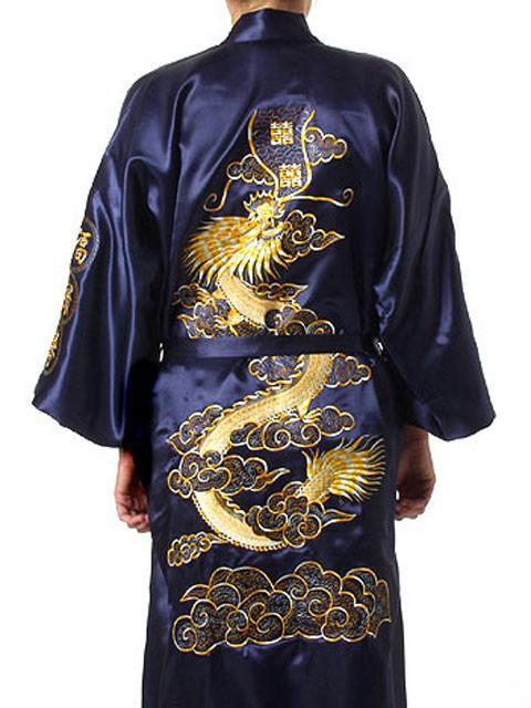 Mens Kimono Dressing Gown Robe Wrap Navy Blue//Grey Size M L XL XXL NEW