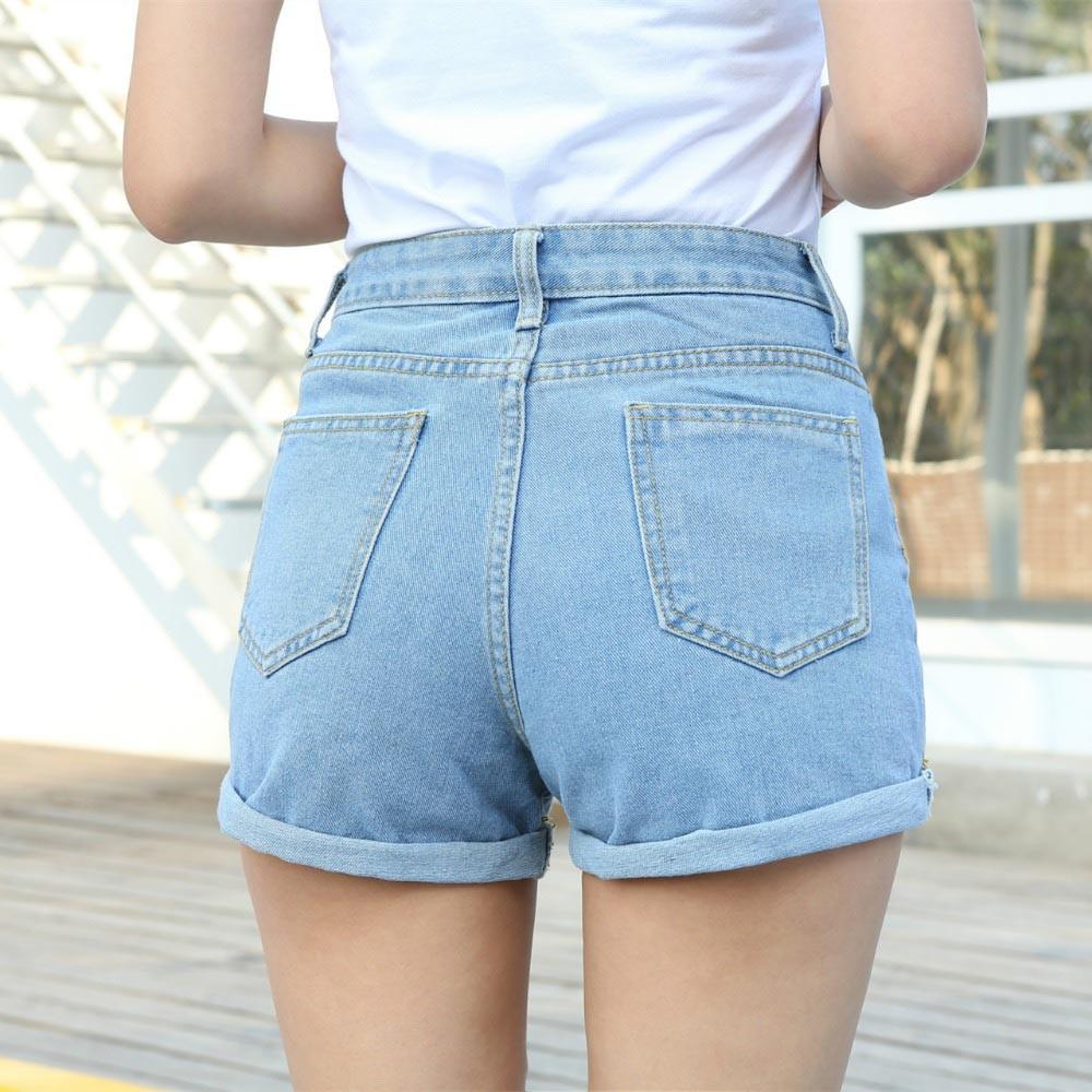 Á…nueva Moda Mujer Jeans Verano De Cintura Alta Denim Stretch Slim Coreano Casual Mujeres Pantalones Vaqueros Pantalones Cortos Venta Caliente Tipo Flojo A279