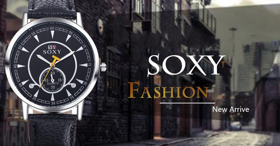 c7cb83de5 الماركة soxy ووتش ساعات الكوارتز الرجال الأزياء brife جديد أنيق فاخر الجلود  ساعة اليد الأنيقة relojio الساخن بيع! TME11