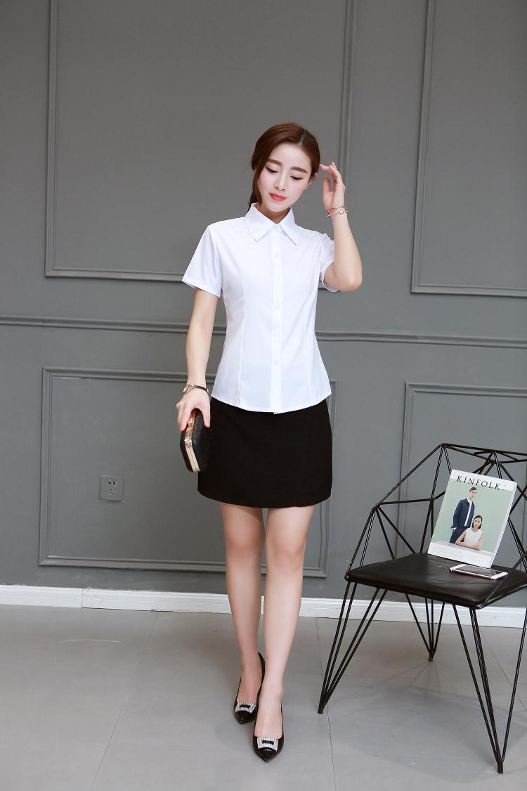 45aa082cc ⊰2018 امرأة البلوزات القطن قصيرة الأكمام أزياء السيدات قمم مكتب ...