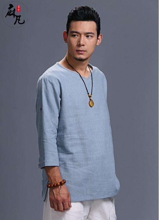 74693e1fa2 Wiosna i jesień moda retro dorywczo czystego naturalnego lnu męska koszula  z długim rękawem koszule męskie luźne mężczyźni koszula