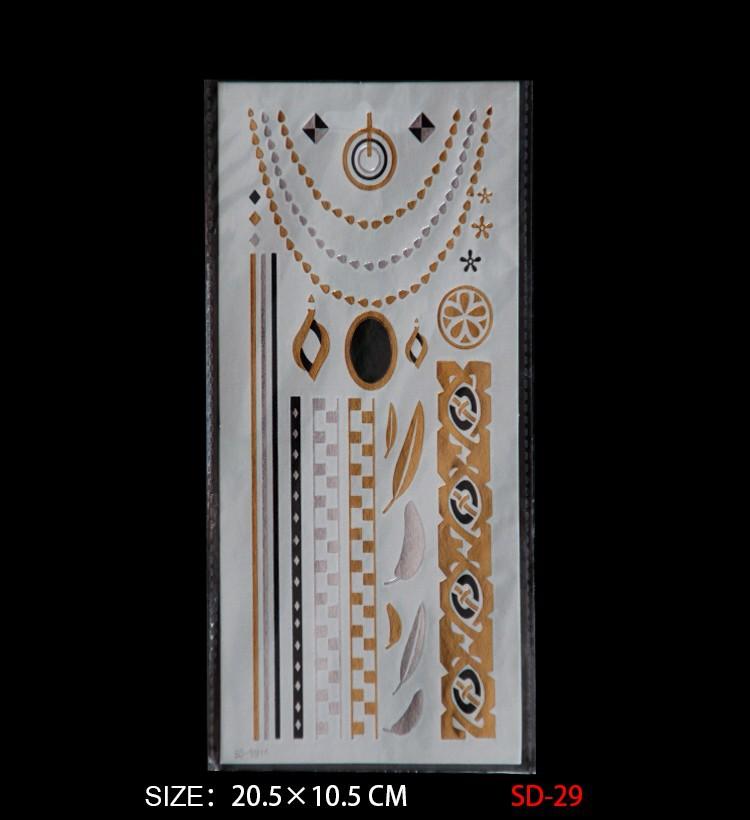 d75fa583f57f ✓2017 nueva venta caliente moda oro plata Cuerpo Art tatuaje ...