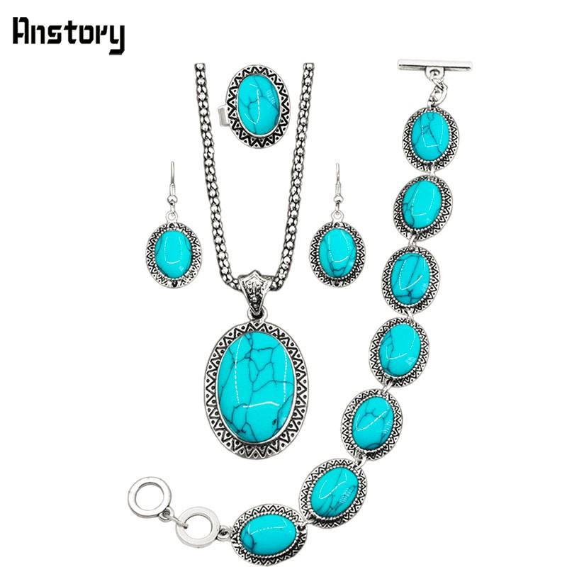 3303533643d98 ᑐSunflower Oval Stone Jewelry Sets Necklace Bracelet Earrings Ring ...
