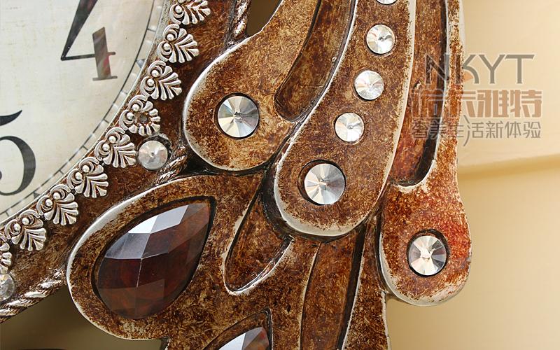 5a864c38c 25 بوصة الطاووس شكل ساعة الحائط غرفة المعيشة ساعة الحائط الرجعية الأوروبية  الرعوية الإبداعية الديكور الكوارتز ساعات