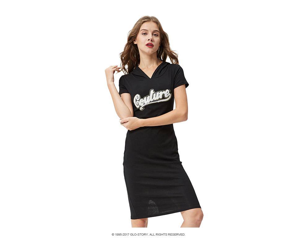 e93993da7657b GLO-STORY Kadın 2018 Rahat Kısa SleeveStreetwear Örme T-shirt Kapüşonlu  Elbise ile Cep ve Mektup Işlemeli WYQ-1800