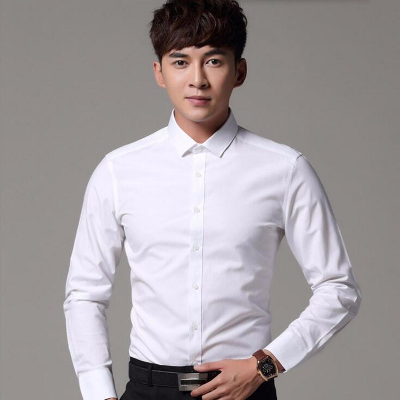 0329ba870 11.1Business and leisure shirt new arrival long sleeve groom shirt solid  color prom banquet wedding ...