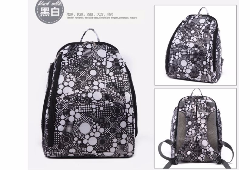 Sac-poussette sac /à langer grande capacit/é pour la poussette un sac de voyage un sac pour les accessoires une mallette de transport motif noir et blanc des points Dots Big 059