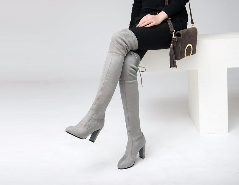 cdfef2e41 ④VINLLE 2016 المرأة على الأحذية في الركبة الأحذية مثير مربع عالية ...