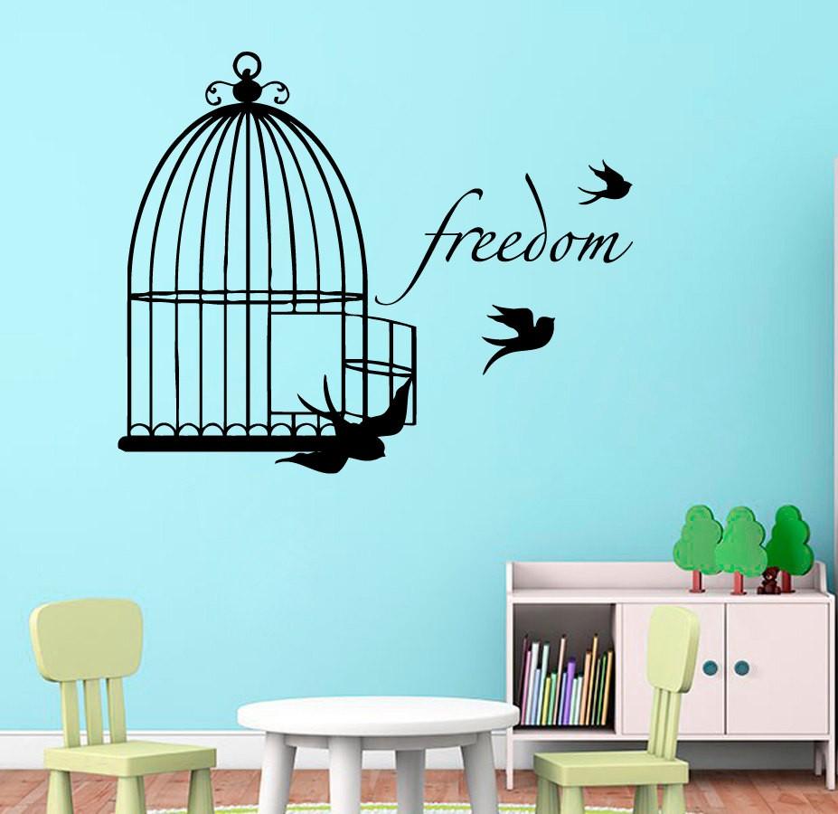 Sticker Oiseaux Sur Un Fil √mignon cage À oiseaux suspendue motif stickers muraux