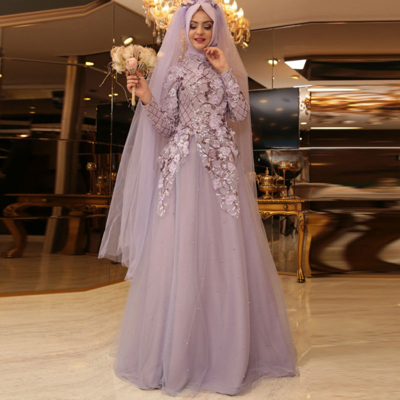 Muslim Bridal Dresses Robe De Mariee  Wedding Gown Floral Hijab Islamic Turkish Traditional