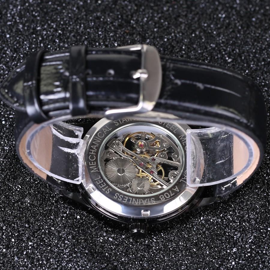 3217cc2c2ddc0 الفائز 2018 العلامة التجارية الشهيرة رجل الفاخرة شفافة اليد الميكانيكية  الساعات relogio masculino حزام جلد عارضة