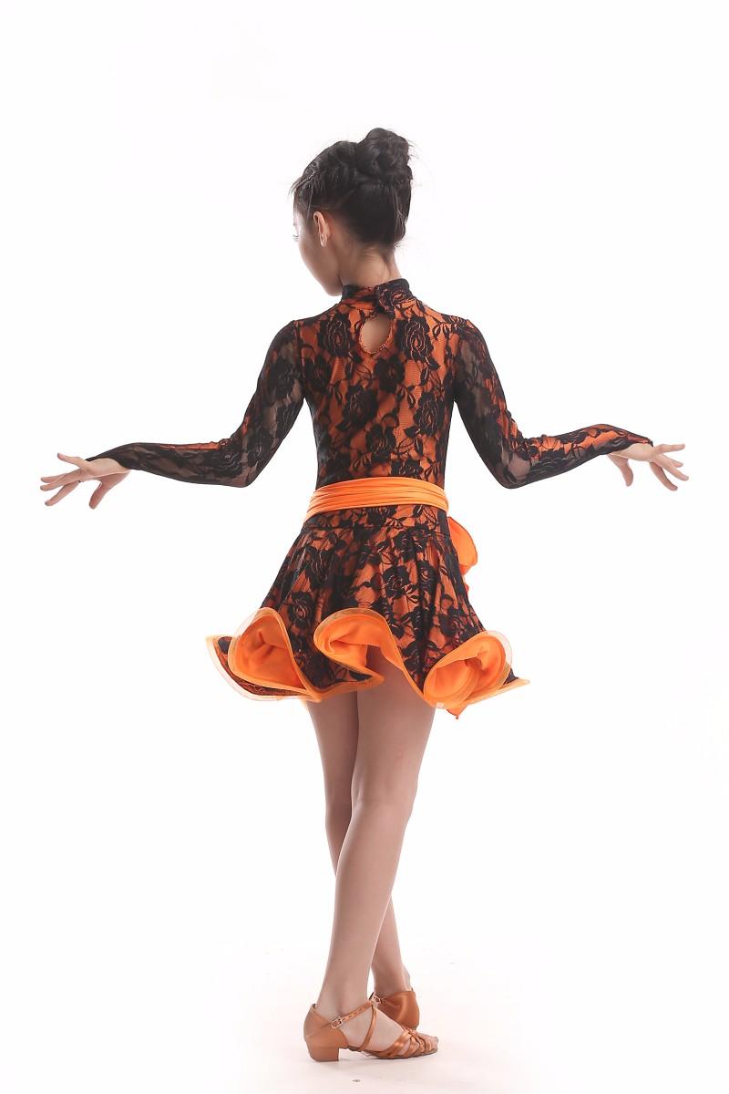 62300887cd Pełnoletnie Dziecko Latin dance costume sexy koronki długie rękawy ...