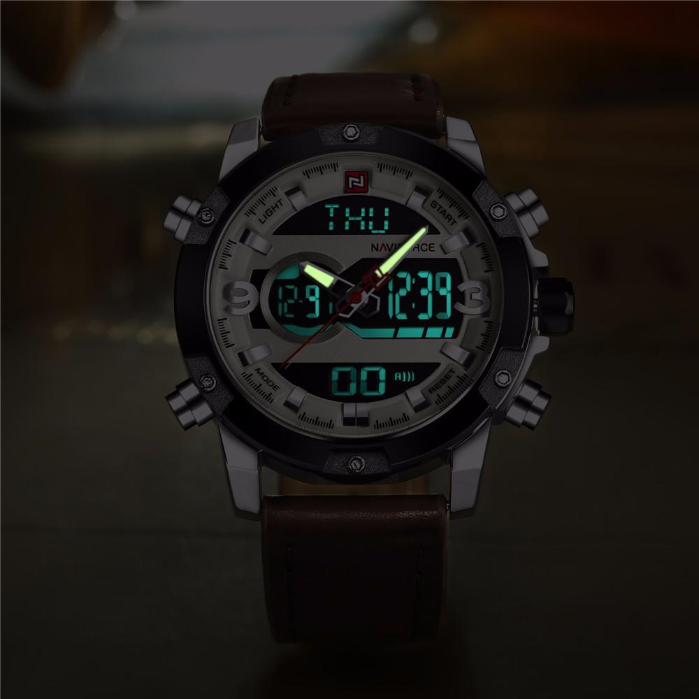 11f8af3b2444 Hombres relojes deportivos naviforce marca reloj LED Digital analógico  cuero reloj cuarzo 30 m relojes impermeables