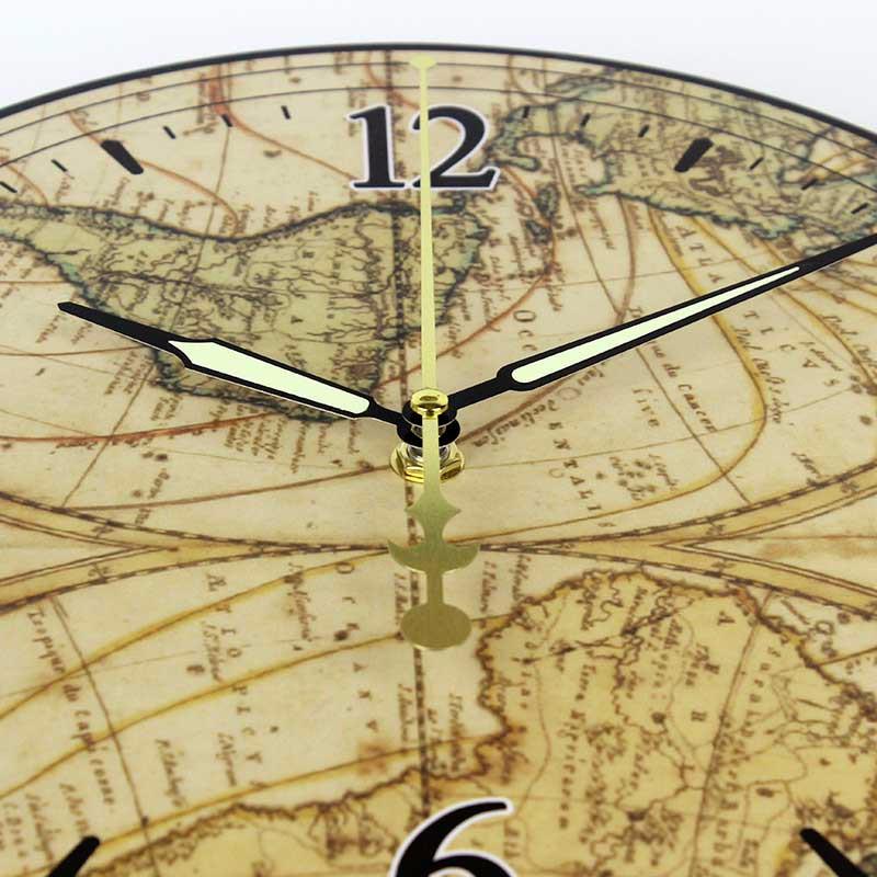fef40b0fc ⓪العالم خريطة كبيرة الزخرفية ساعة الحائط الحديثة تصميم صامتة تماما ...