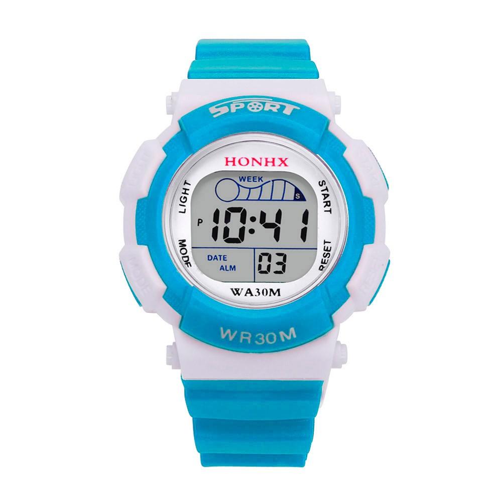 c1f32434b سبلينديد 7 ألوان 2018 Relojes Mujer أفضل مشاهدة الأطفال الفتيان LED الرقمية ساعة  رياضية الاطفال إنذار تاريخ للماء ووتش