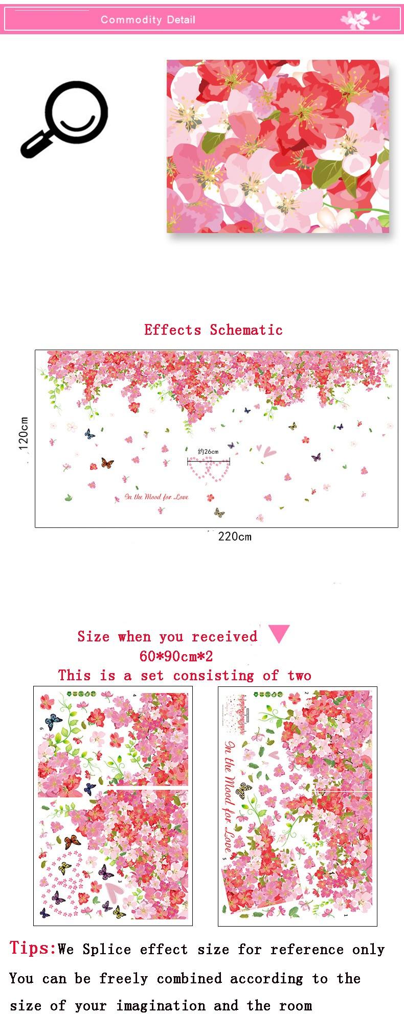 Grand 220 120 Nouveau Muraux Fleurs Stickers 2 Pcsensemble Xn8PkNw0O