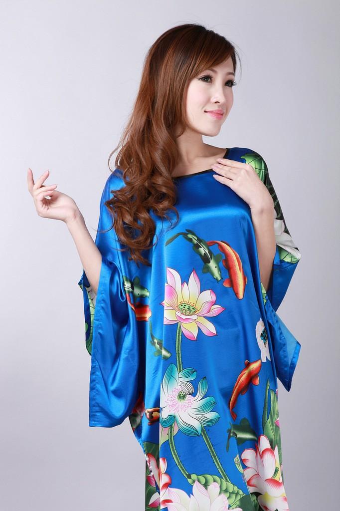 bb07ace4b ᗐAgora Azul Moda Mujer Feminino Faux Robe de Seda Pijama de verão ...