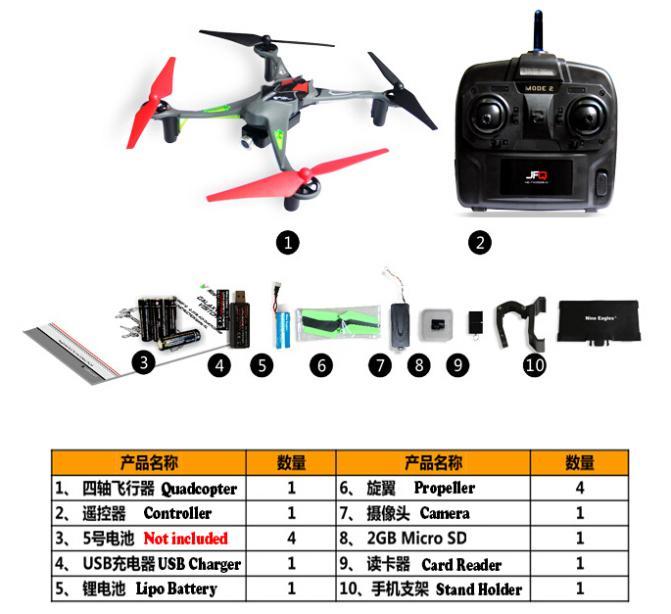 carte grise retourné à l expéditeur ᗖF11462 NineEagles Visiteur 6 F15 Mobile Wifi Temps Réel RC Drone