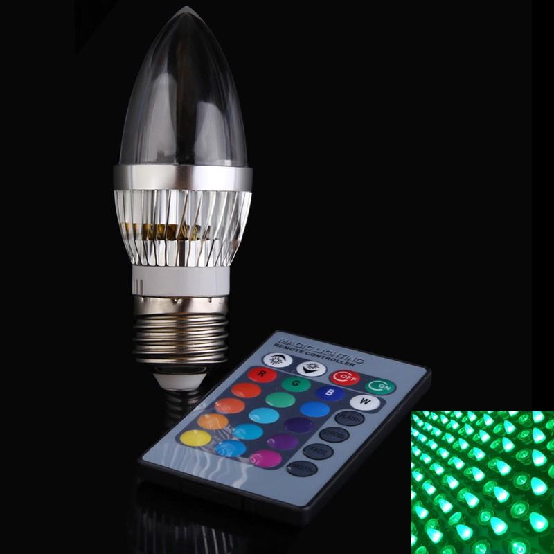 323433888371dc ⑥1 stücke Ampulle Led-lampe 3 Watt AC85-265V E14/E27 16 Farben Led ...