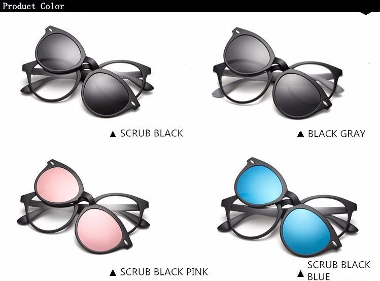 972920e38da50 BENZEN الاستقطاب مشبك مغناطيسي نظارات TR 90 طلاء النظارات الشمسية الذكور  قصر النظر النساء الرجال نظارات إطار أسود مع حالة 9150