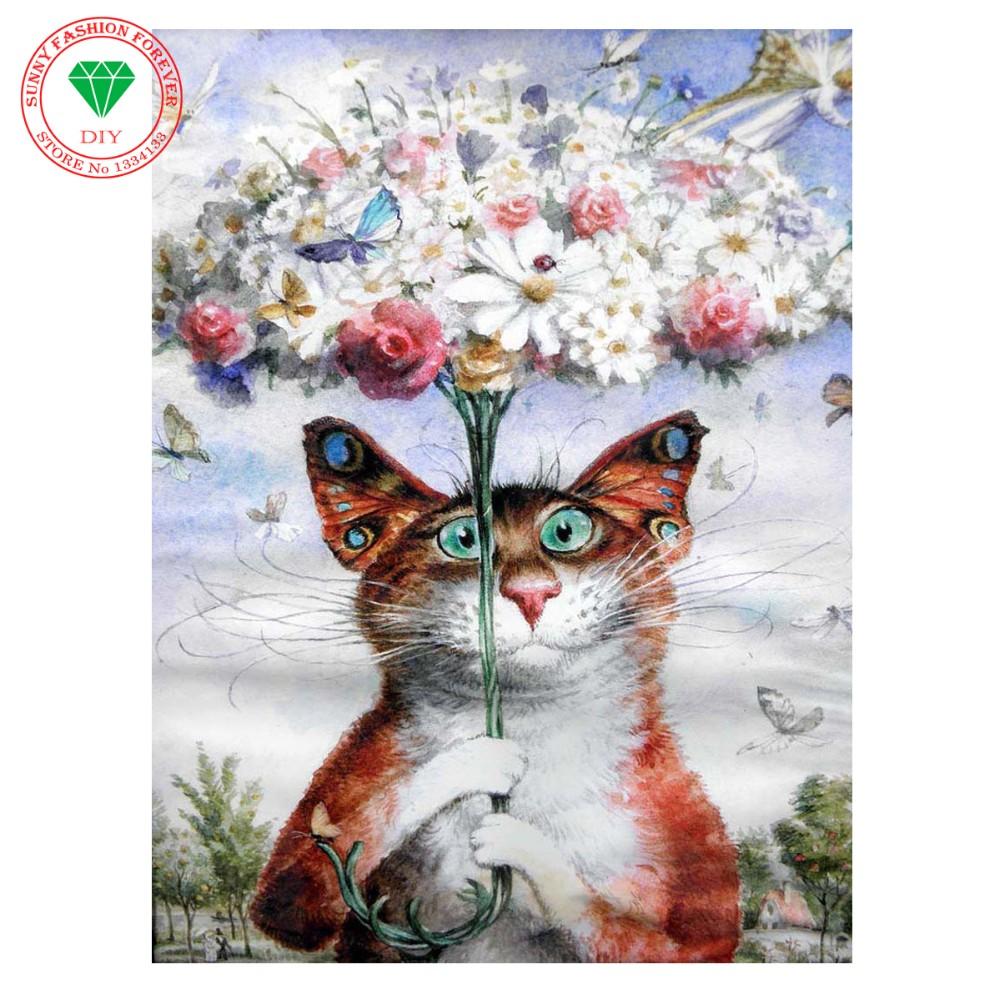 35d Diamante Mosaico De Dibujos Animados Gatos Flores Hechas A