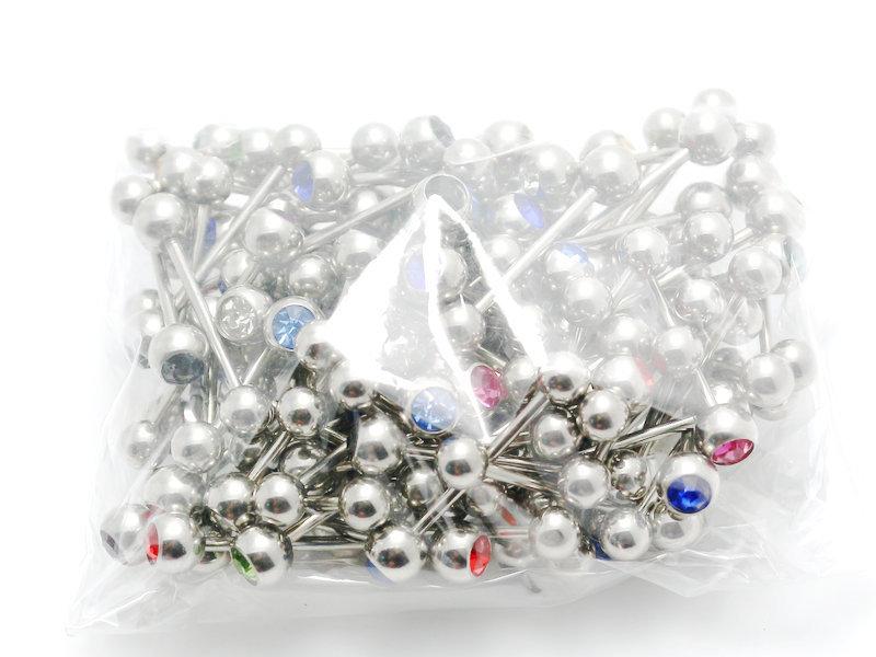 Piercing-bala joyas pelota multi cristales rosa3-8 mm