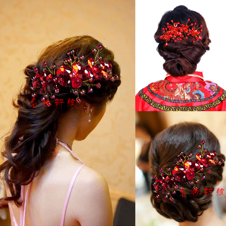 Crystal red crystal flower handmade beads accessories ...