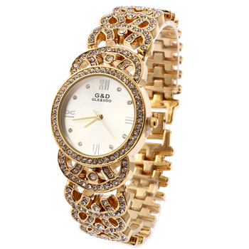 Relogio Feminino G&D Gold Women Quartz Wristwatch Analog Stainless Steel Fashion Lady