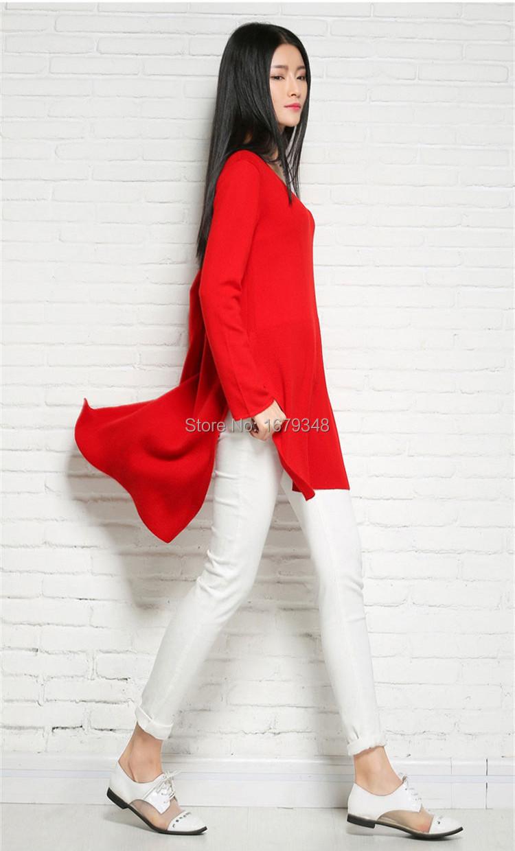 abdda17d61115 ⑦Sparsil المرأة الربيع طويل مزيج الكشمير سترة الخامس الرقبة سبليت ...