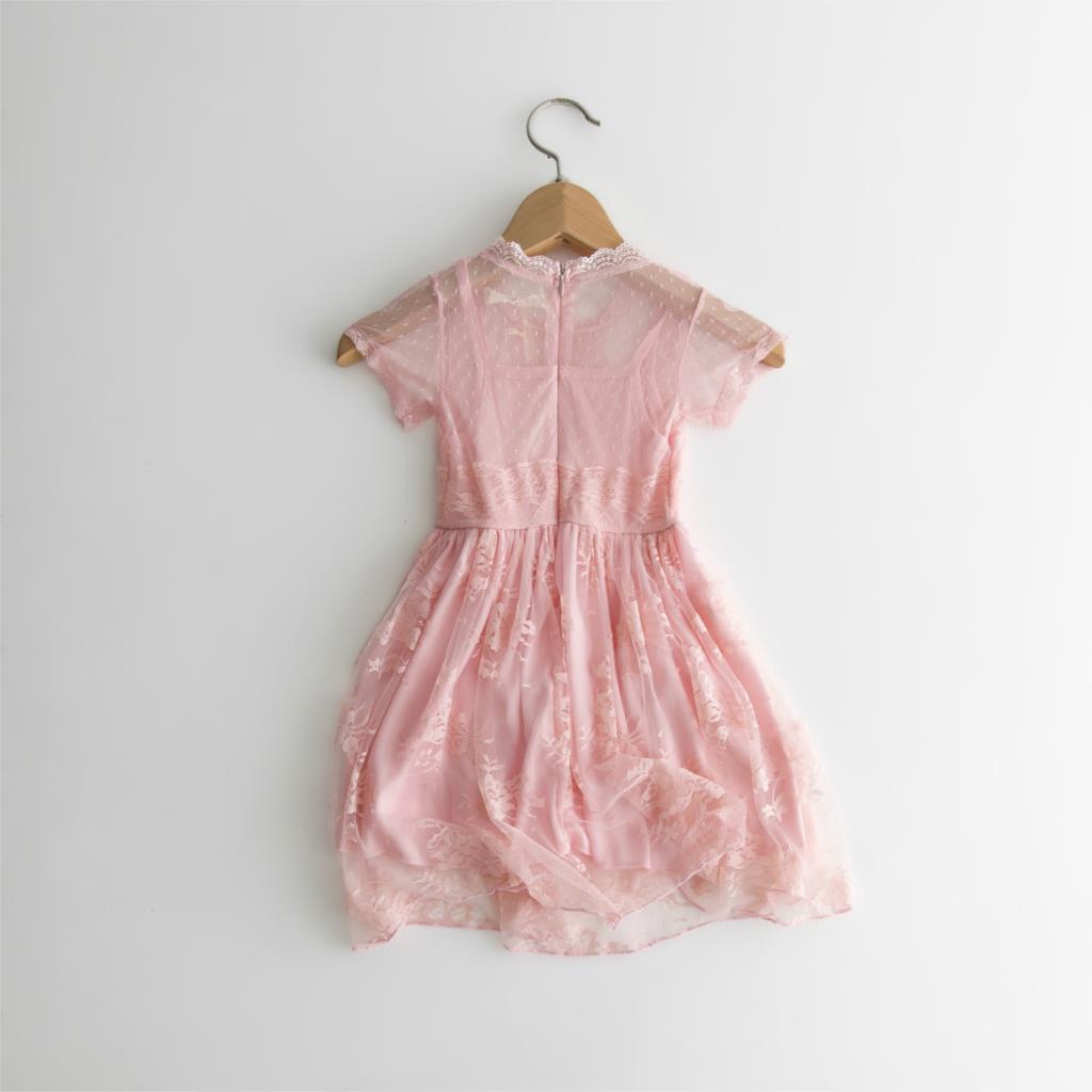 Filles Rose Pretty Espagnol Style Coton Imprimé Gros Noeud Soleil D/'été Robe 1-2 Ans