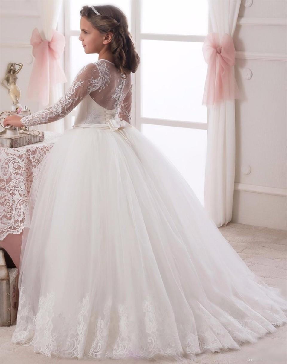 0e86f3873a √2019 Długie Rękawy Biały Ivory Flower Girl Sukienka z Bow Sash O ...