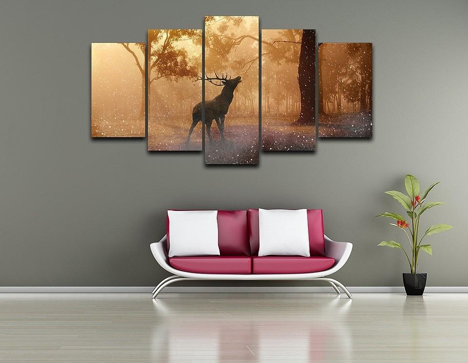 04d240955 HD المطبوعة مؤطرة النفط اللوحة الفنية قماش طباعة اللوحة الغزلان نمط ...