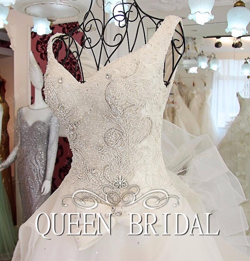 3efcaf7770bff ⑥خط V الرقبة الكشكشة فستان الزفاف Vestido دي Novia الدانتيل الديكور ...