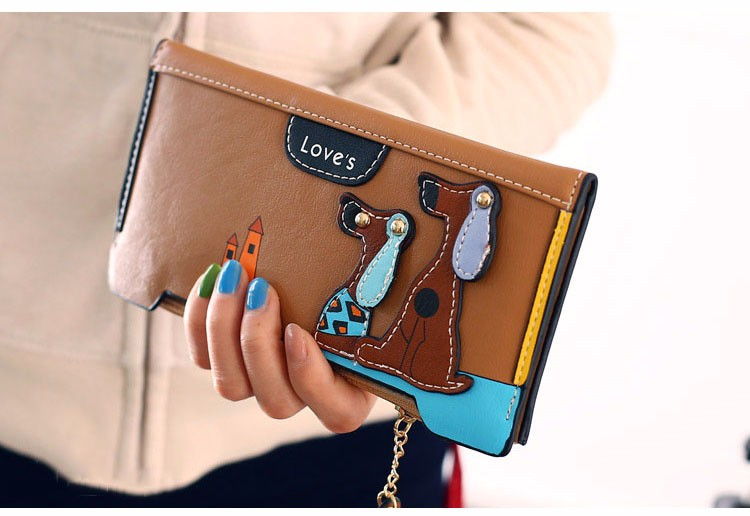 famous brand luxury billetera mujer monederos para mujer Lady Cartoon Zipper & Hasp Standard Wallets Cartoon Printing Synthetic Leather Interior Slot Pocket