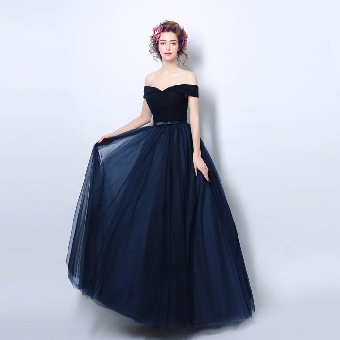33326d6aa55d4 100% الصورة الحقيقية vestidos longos دي فيستا البحرية الأزرق فساتين السهرة  مع القوس قبالة الكتف حزب النساء فستان حفلات عالية جودة