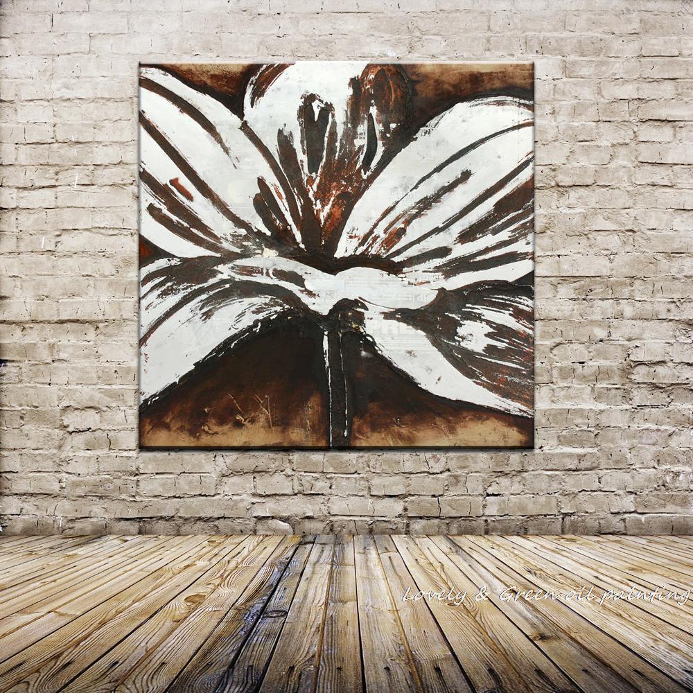 Envío Gratis Pintado A Mano Arte De La Pared De Blanco Abstracto Flor Pintura Al óleo Sobre Lienzo Sala Dormitorio Decoración Del Hogar 70x70 Cm A177