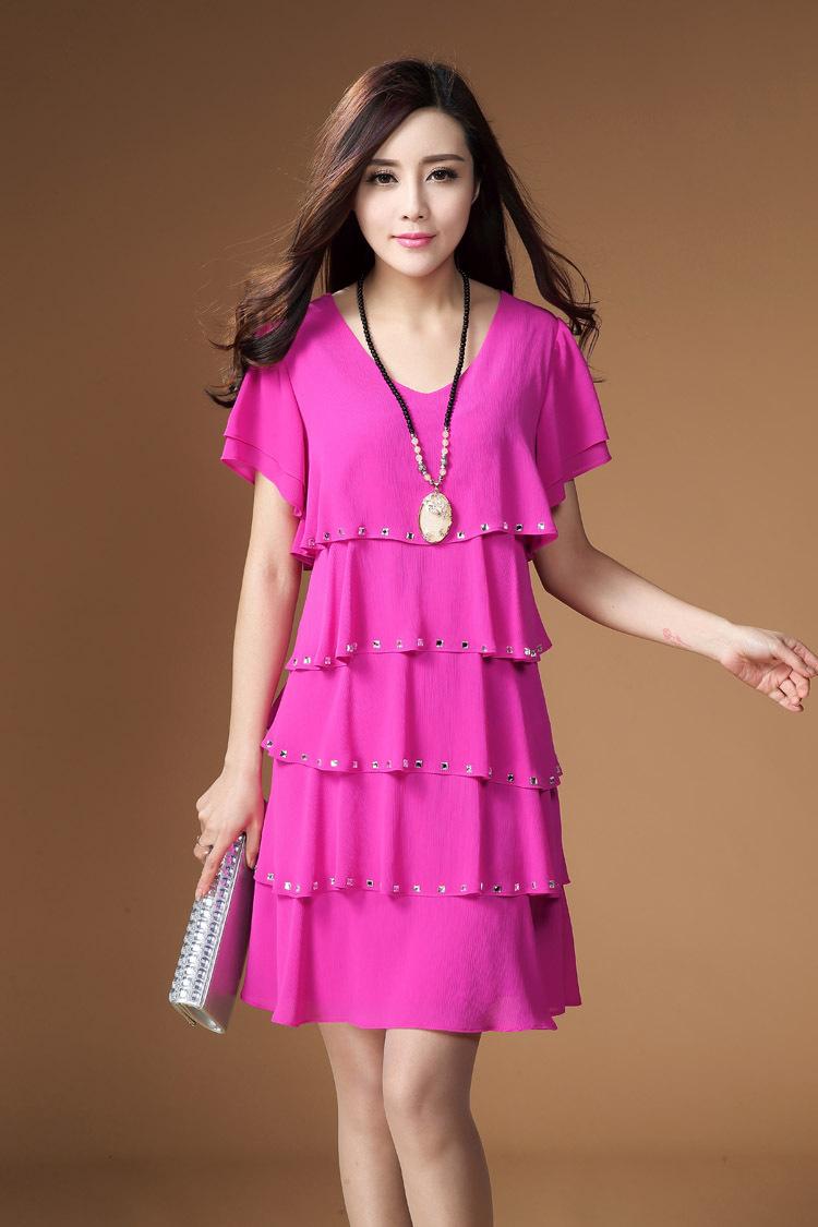7a67ac1ab38dc 6 renkler freeshipping L-4XLwomens yaz elbiseler 2015 yaz tarzı yeni moda  artı boyutu kadın Şifon Elbise kırmızı siyah beyaz mavi