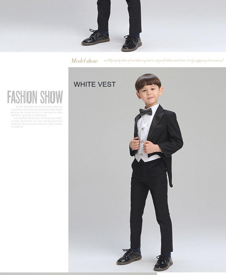 0c6462eb2 ̿̿̿(•̪ )Conjunto de ropa de niños grandes negro Tailcoat niños ...