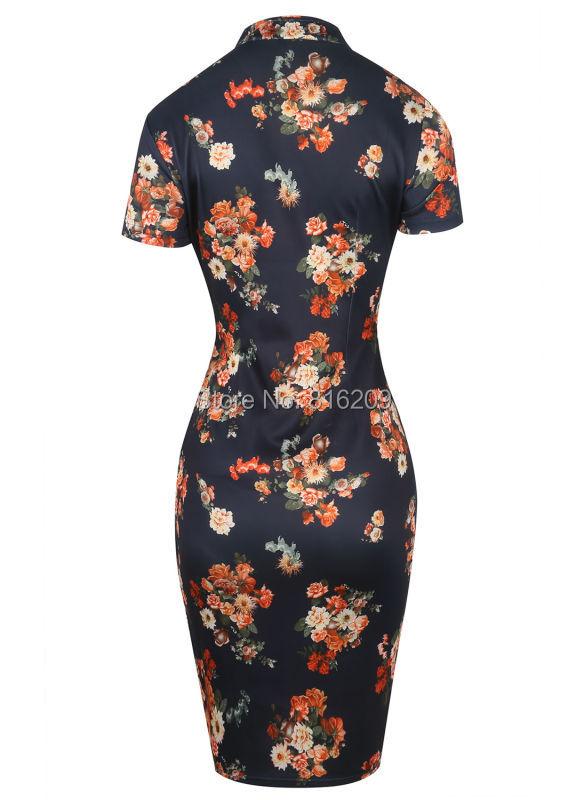 eb8229d22192f ⃝Oxiuly المرأة تقف طوق مطبوعة تمتد شيونغسام العمل اللباس المناسبات ...