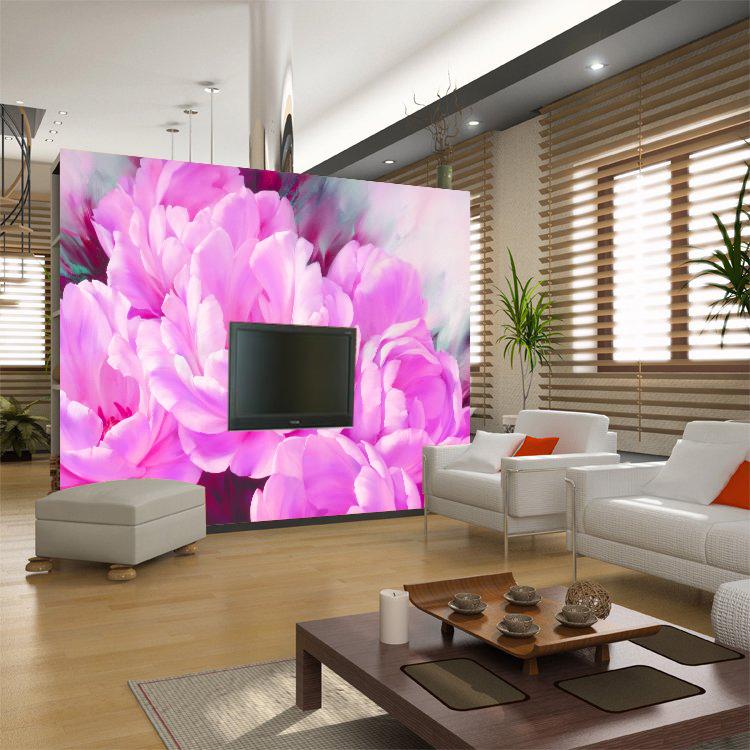 En Gros Violet Fleur Murale Papel De Parede 3d Peintures